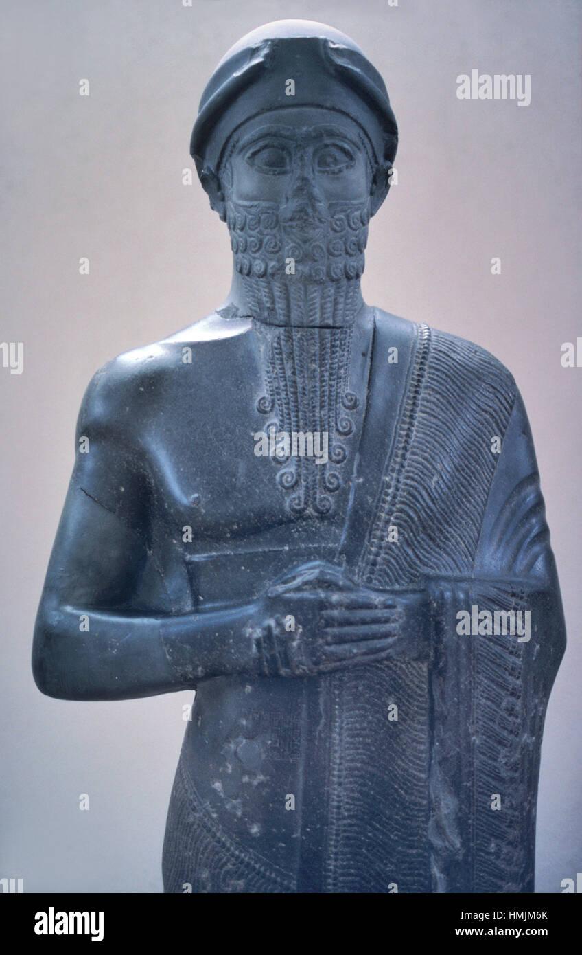 Basalt Statue of Puzur-Ishtar (c2050-2025BC), Shakkanakku, Military Governor or Prince of Mari, Babylon, Mesopotamia. Stock Photo