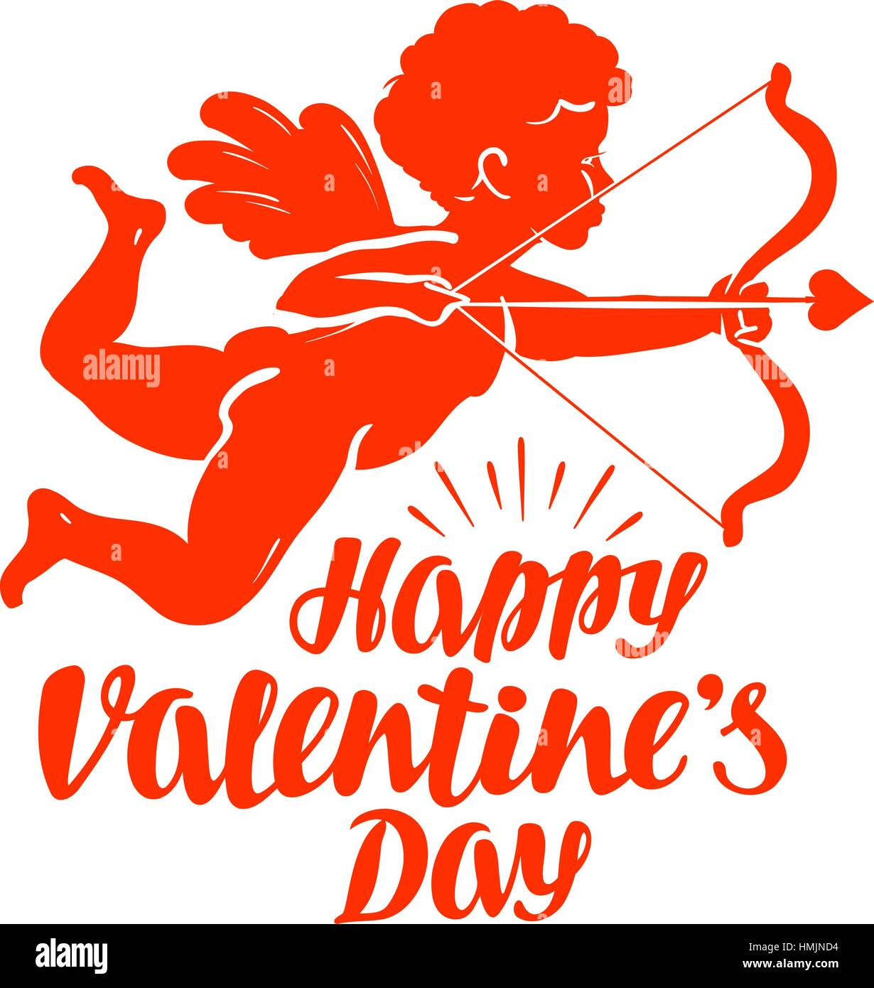 Happy Valentine S Day Greeting Card Flying Angel Or Cupid With Bow