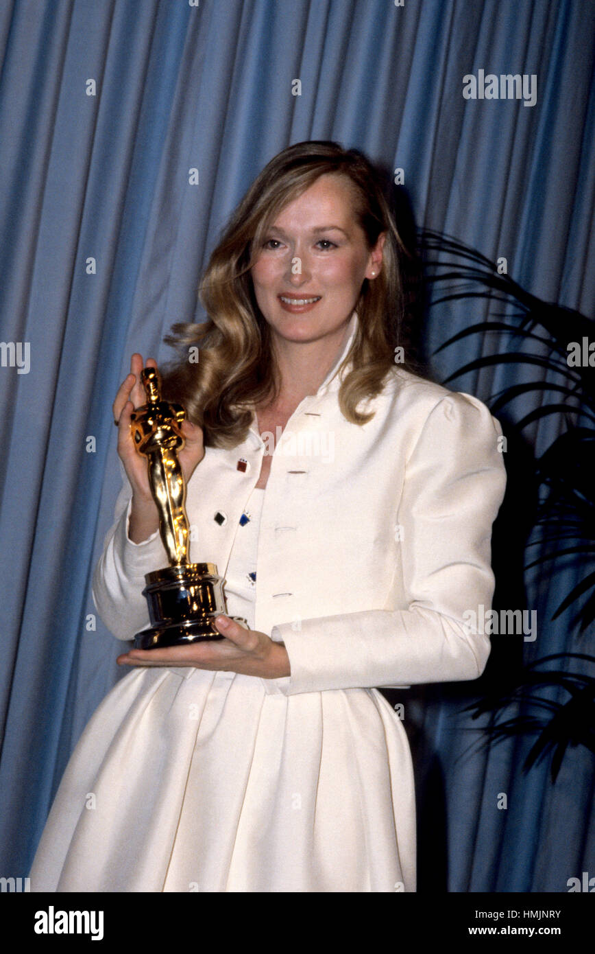 Actress Meryl Streep with her Oscar for Best Supporting Actress in 'Kramer Vs. Kramer' at the 52nd Annual - Stock Image
