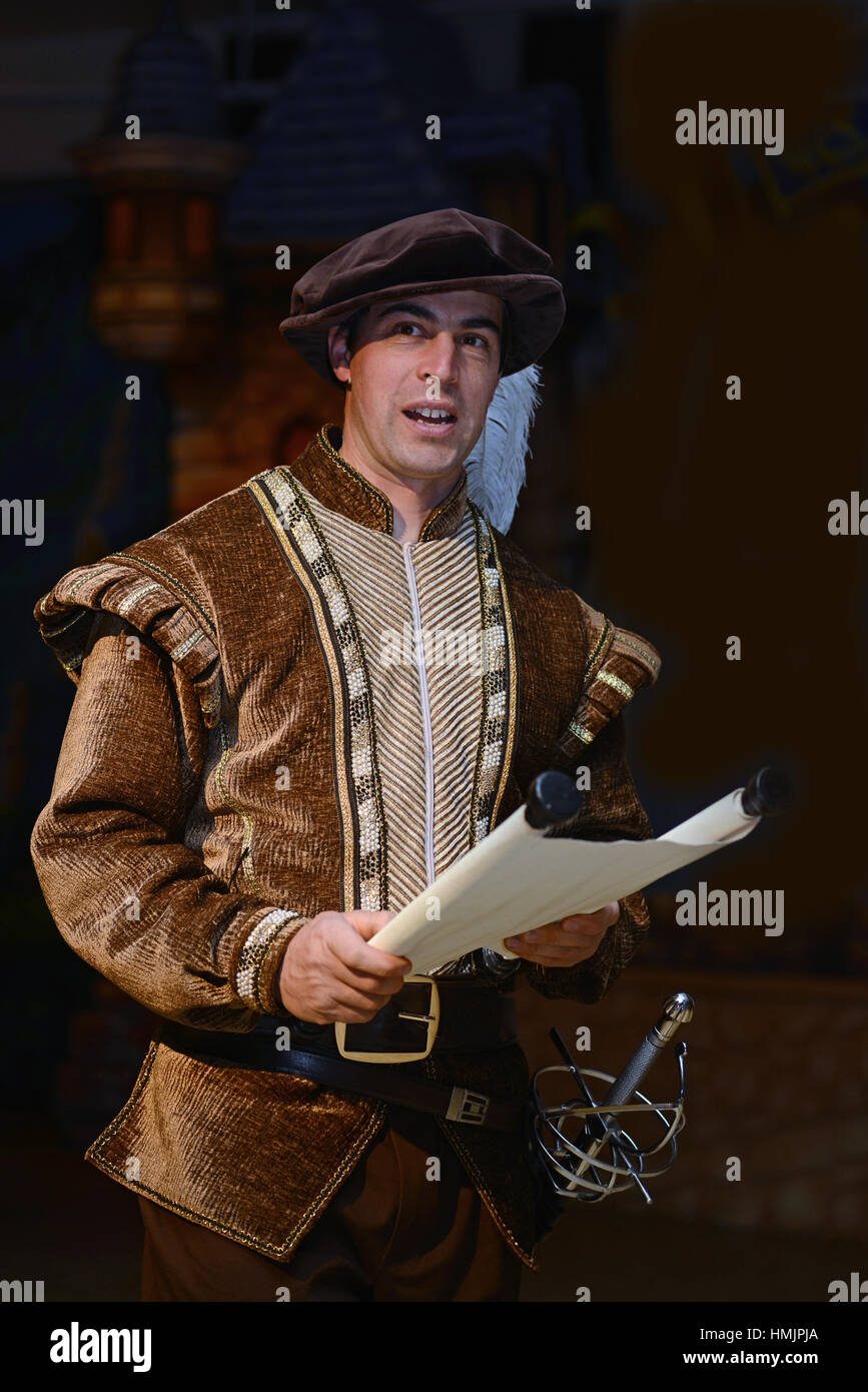 A character dressed in medieval costume reads from a scroll - Stock Image