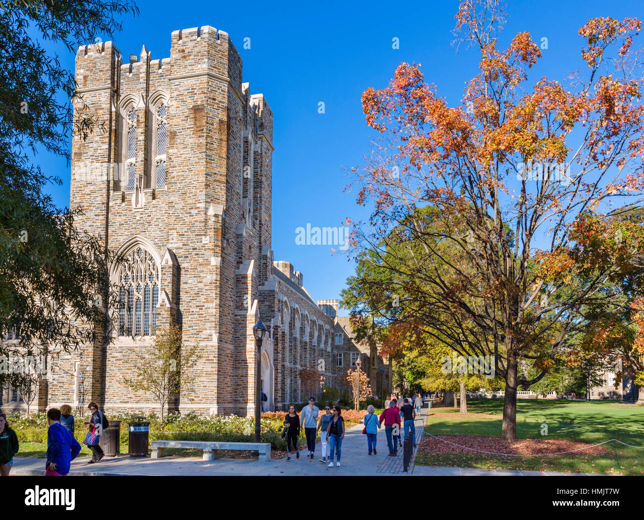 Duke University, Durham, North Carolina, USA. View of the campus from Chapel Drive, with Rubenstein Rare Book Library Stock Photo