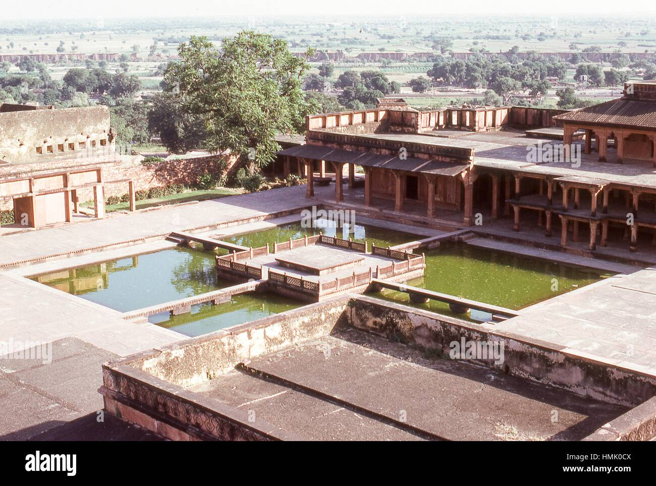 View of the Anup Talao ornamental pools from atop the Panch Mahal palace, inside the royal enclave of Fatehpur Sikri, - Stock Image