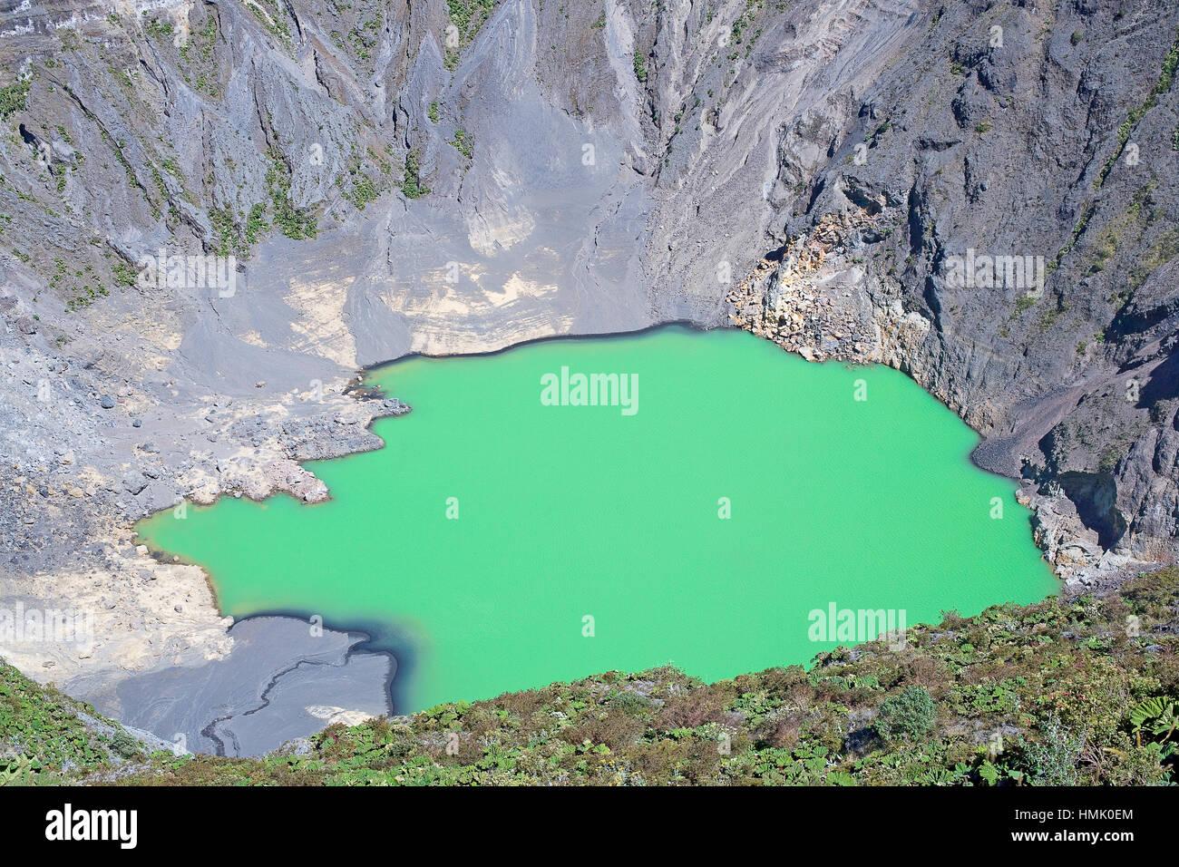 Caldera with green crater lake, Irazu volcano, Irazu volcano National Park, Cartago Province, Costa Rica Stock Photo
