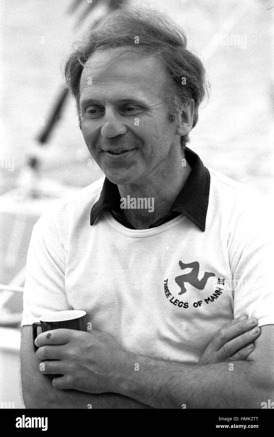 AJAXNETPHOTO. 6TH JUNE, 1980. PLYMOUTH, ENGLAND. - OSTAR 1980 - THREE LEGS OF MANN III SKIPPER NICK KEIG (UK). HIS - Stock Image