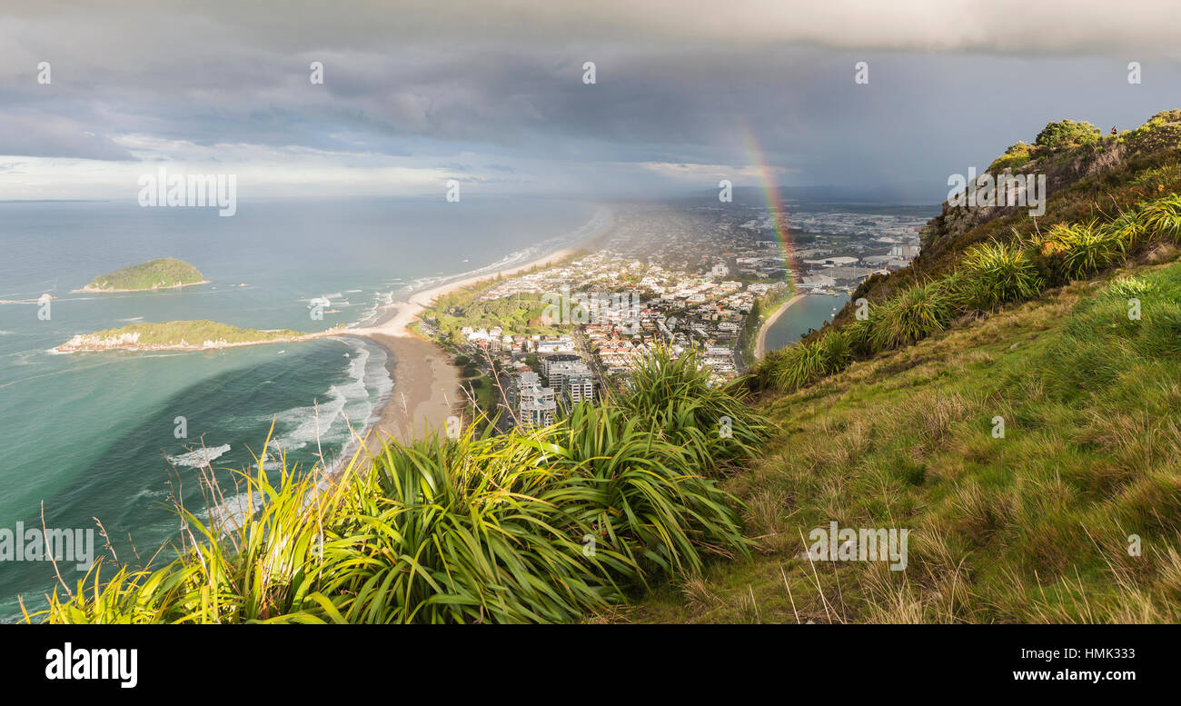 Panoramic view of Mount Maunganui and Tauranga Harbour, view from Mount Maunganui, Bay of Plenty Region, North Island - Stock Image