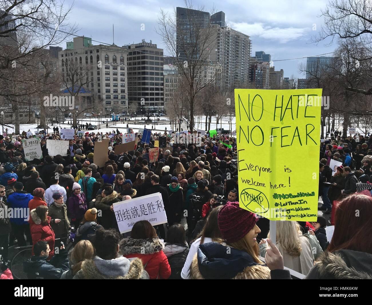 Protest against President Trump in Boston, MA, USA, 01 Feb 2017 - Stock Image
