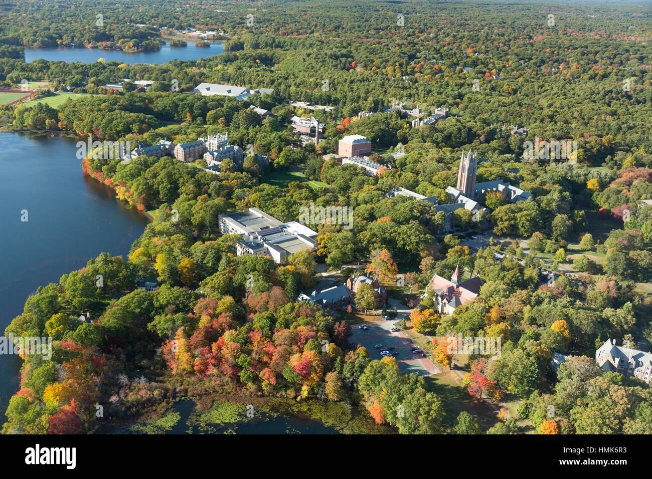 Wellesley College, Wellesley, MA aerial autumn, USA - Stock Image