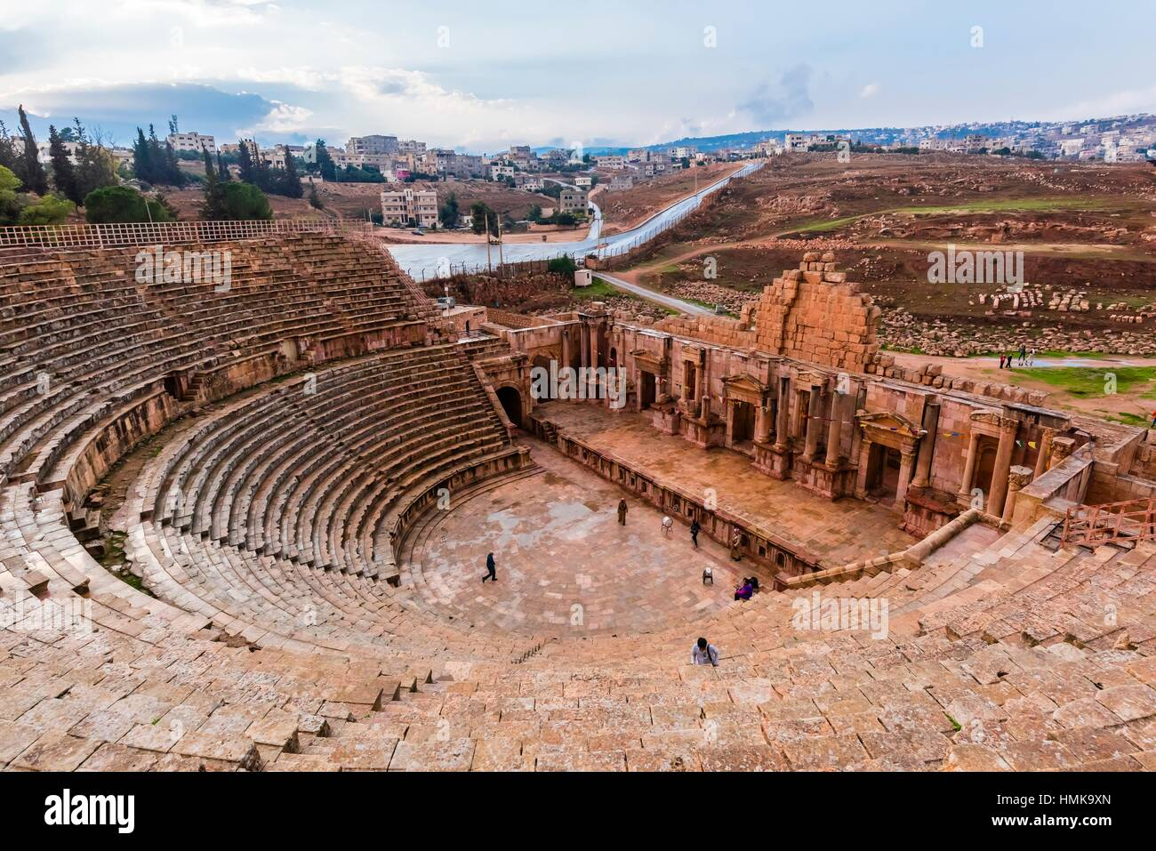 South Theatre, built in 90 - 92 AD, with 32 rows of seats for 5,000 spectators, ancient Roman city of Jerash, Jordan. - Stock Image