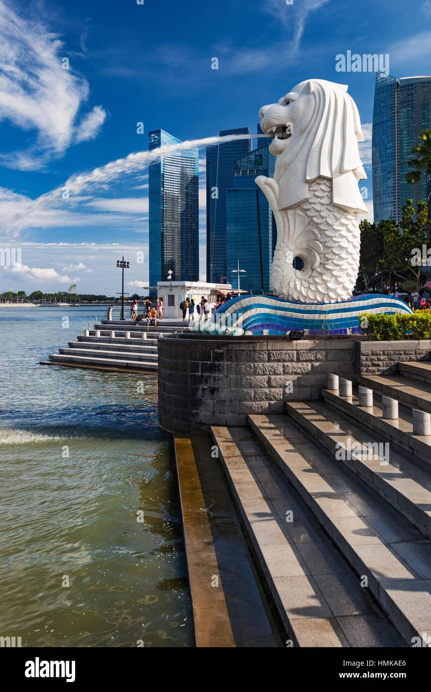 The Merlion Monument and park, Downtown Core, Singapore. Stock Photo