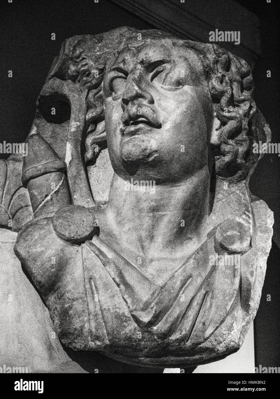 Capital with Apollo bust from Didyma. Classic collection. Archaeology Museum. Istanbul. Turkey. - Stock Image