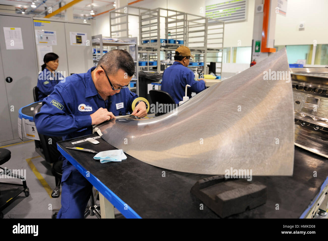 Rolls-Royce Trent jet aero-engine maintenance and overhaul at SAESL Singapore Aero Engine Services Pte Ltd Stock Photo