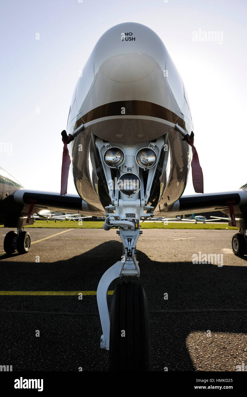 nosewheel undercarriage lights on a Synergy Aviation Beechcraft King Air B200GT - Stock Image