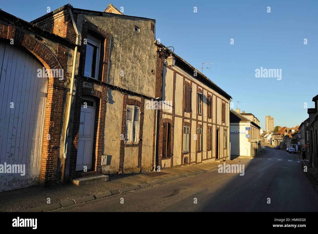 decrepit facades in the village of Brezolles, Natural region of Thymerais, department of Eure-et-Loir, Centre-Val - Stock Image