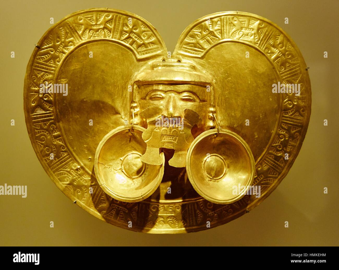 Golden pectoral, pre-Hispanic gold work, Museo del Oro, Gold Museum, Bogota, Cundinamarca, Colombia, South America - Stock Image
