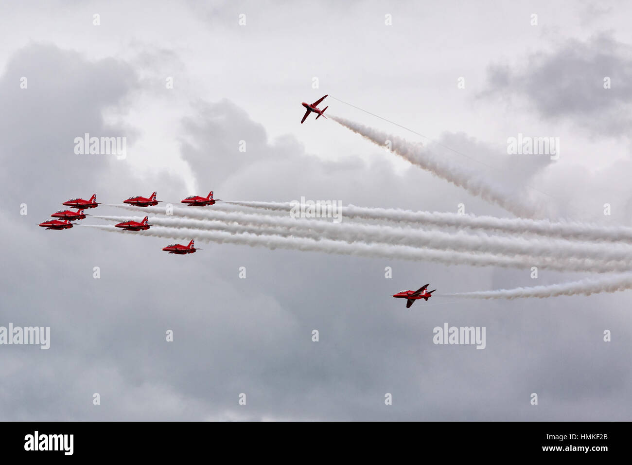 Bournemouth, Dorset, ENGLAND - August 21, 2016: Bournemouth Air Festival 2016 - Nine Hawk T Red Arrow jets perform - Stock Image