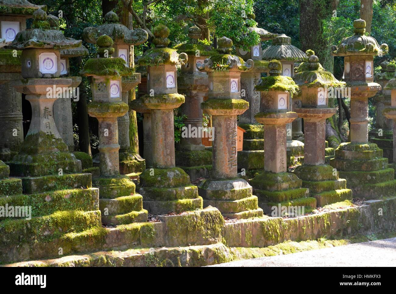 Japanese lanterns at Kasuga-taisha Shrine, Nara, Japan. - Stock Image