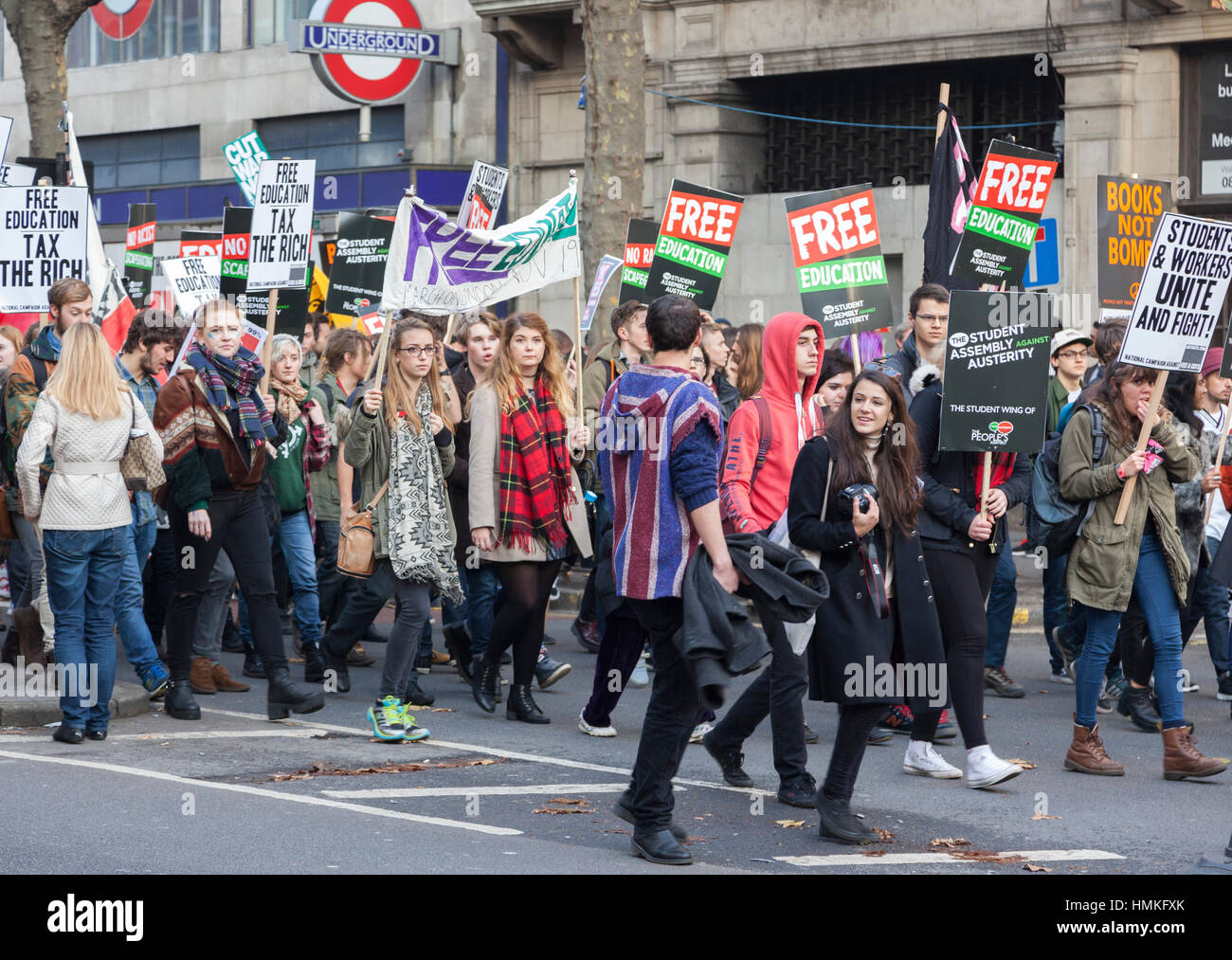 Student protest against education fees. They marched through London from Mallet Street through Whitehall to Parliament - Stock Image