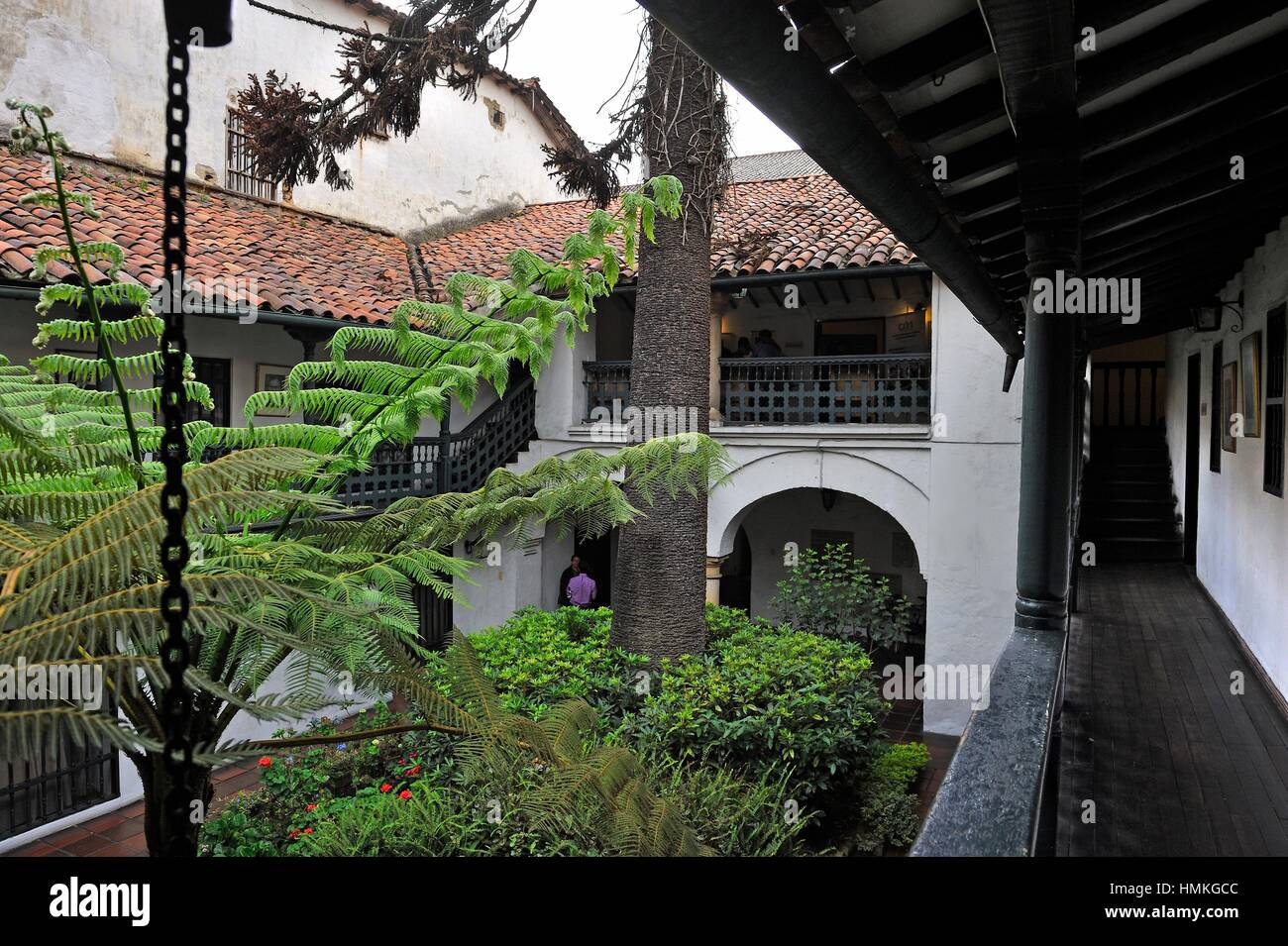 patio of an colonial-era building housing the famous restaurant La Sociedad in Calle11 6-42, La Candelaria district - Stock Image