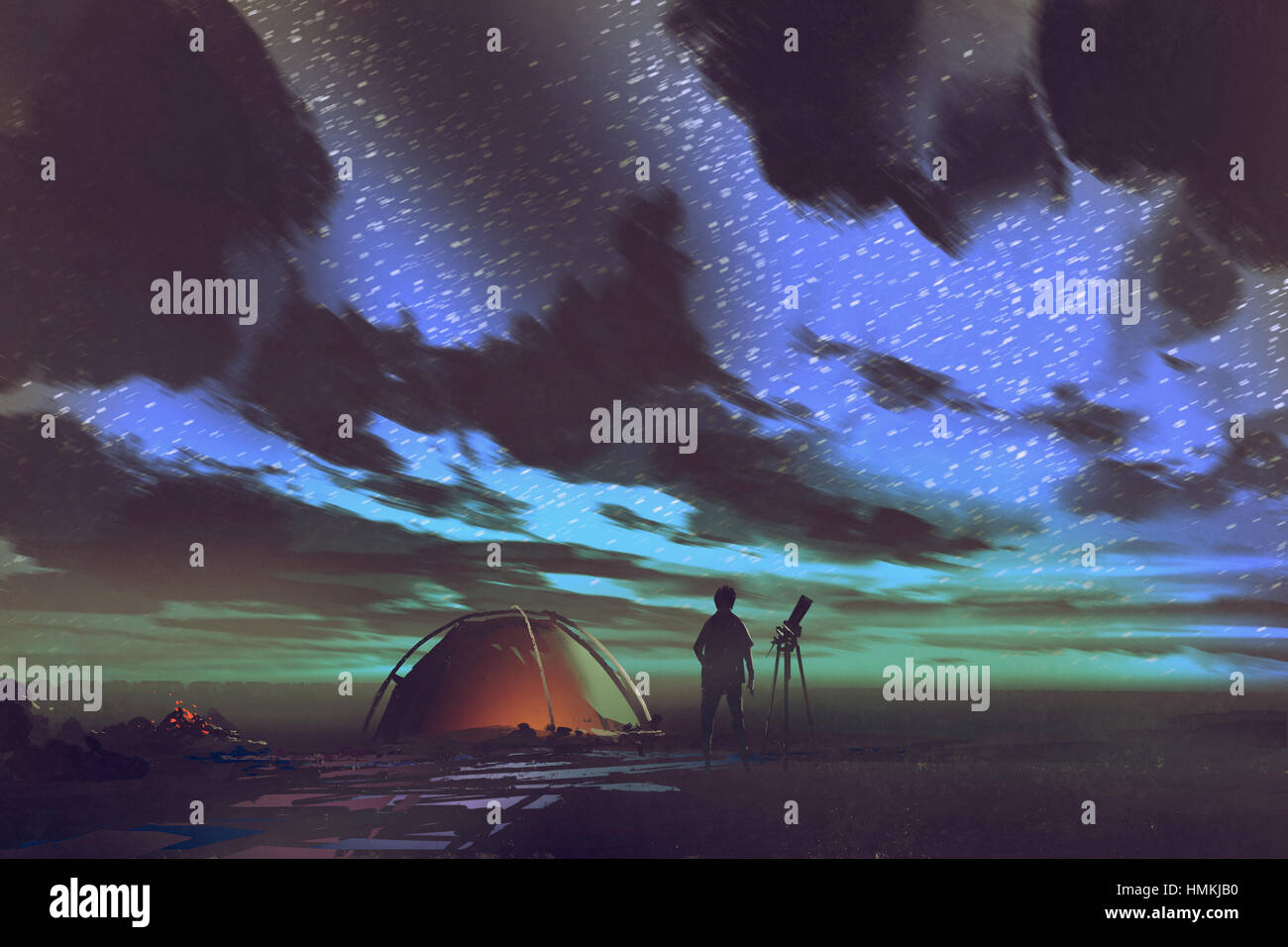 man with telescope standing by tent looking at the sky at night,illustration painting Stock Photo