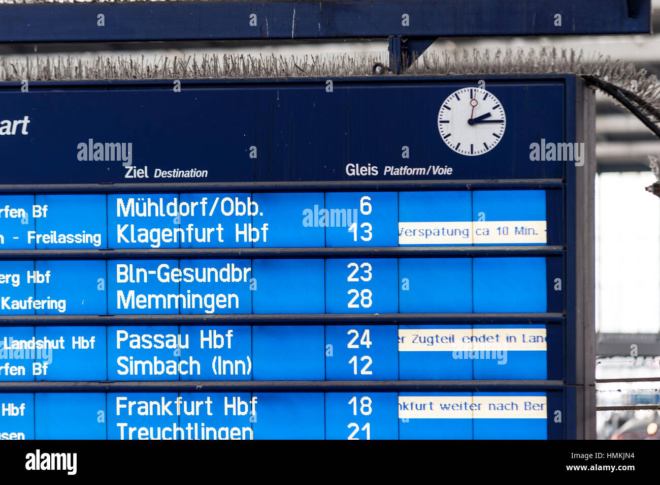 German Railways Display - Verspätung/Delay - Stock Image