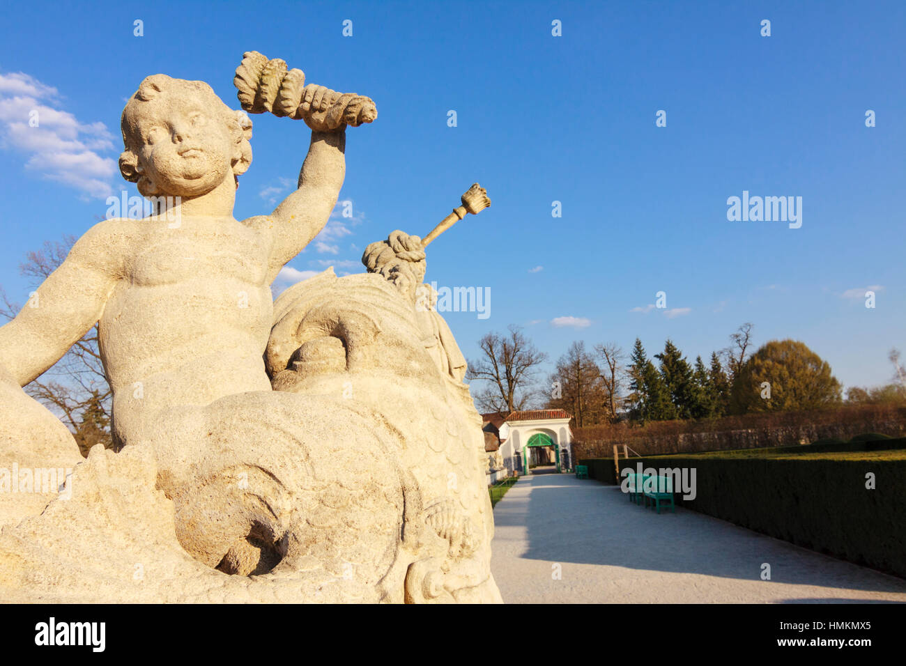 Baroque statues of the Cascade fountain in the gardens at the castle of Cesky Krumlov, Bohemia, Czech Republic - Stock Image