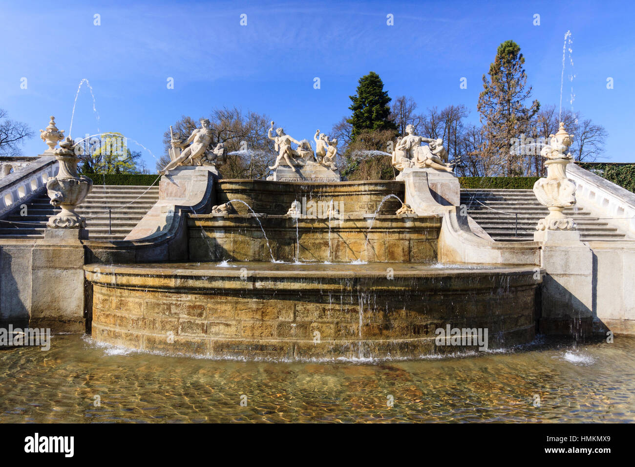 Monumental Baroque Cascade fountain in the gardens at the castle of Cesky Krumlov, Bohemia,  Czech Republic - Stock Image