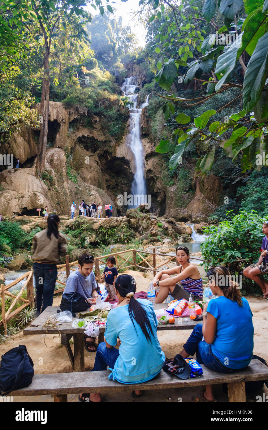 Backpackers rest by Kuang Si Waterfall, 29 km south of Luang Prabang, Laos, South East Asia - Stock Image