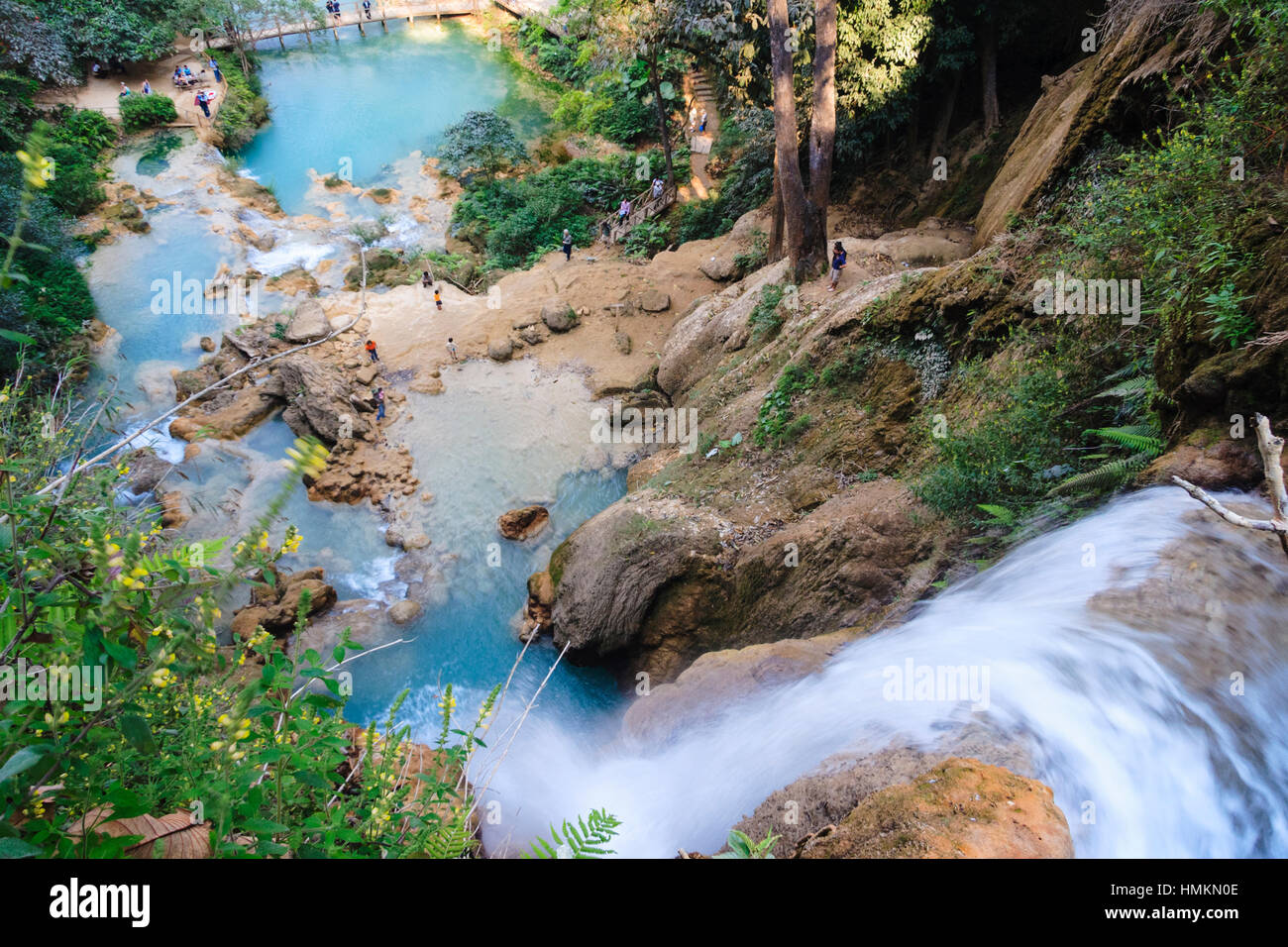 High angle view of Kuang Si Waterfalls, 29 km south of Luang Prabang, Laos, South East Asia - Stock Image