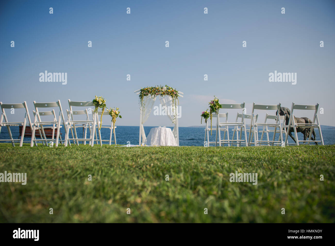 Wedding Ceremony Flowers Arch Chairs With Black Sea In The Stock Photo Alamy