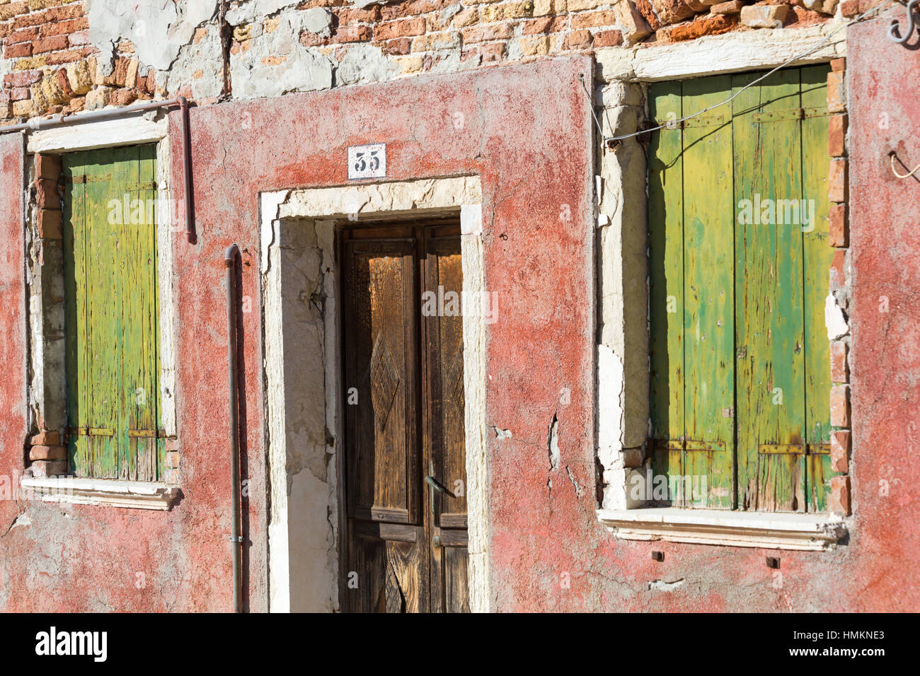 Building in need of some TLC at Burano, Venice, Italy in January - Stock Image