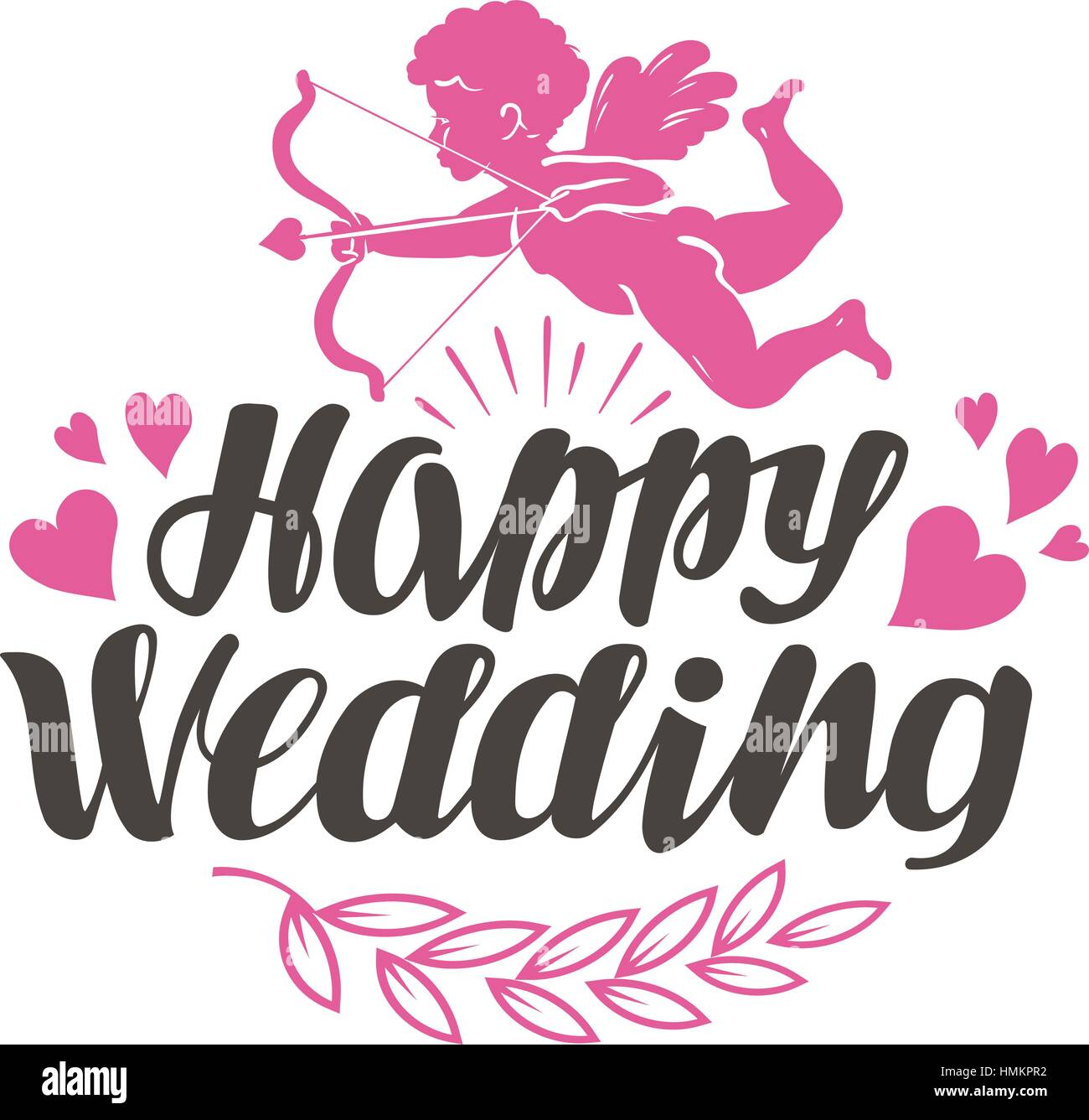Happy Wedding Label With Beautiful Lettering Calligraphy