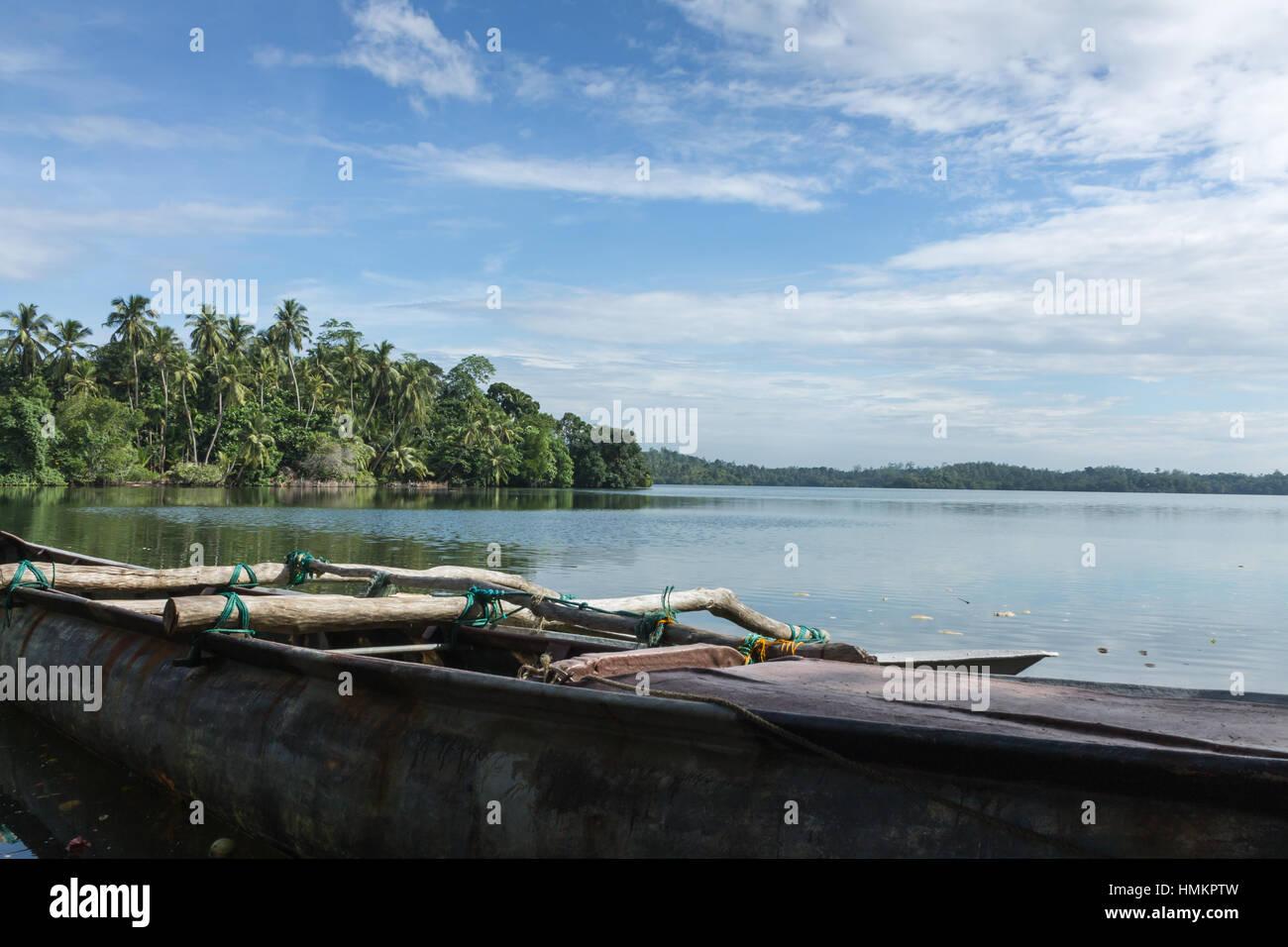 fishing boats on the lake in the jungles of Sri Lanka. Stock Photo