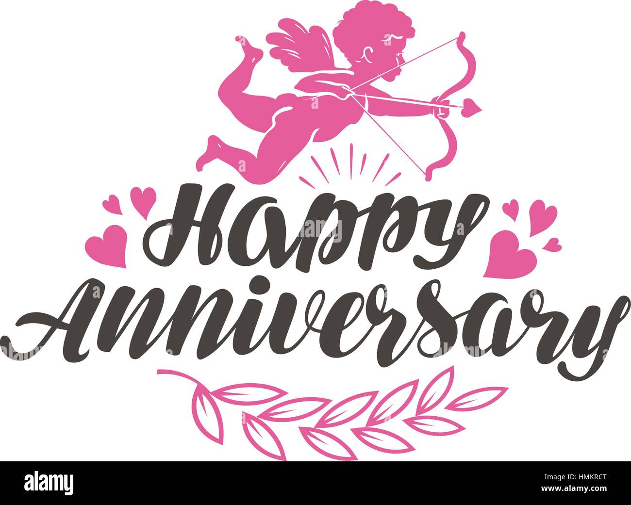 happy anniversary label with beautiful lettering calligraphy vector illustration isolated on white background