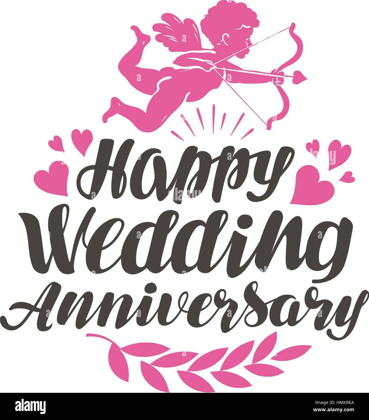happy wedding anniversary label with beautiful lettering calligraphy vector illustration isolated on white background