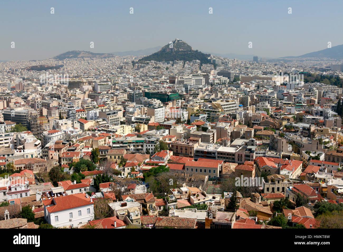 Skyline: Lykabettus/ Lykavittos, Athen, Griechenland. Stock Photo