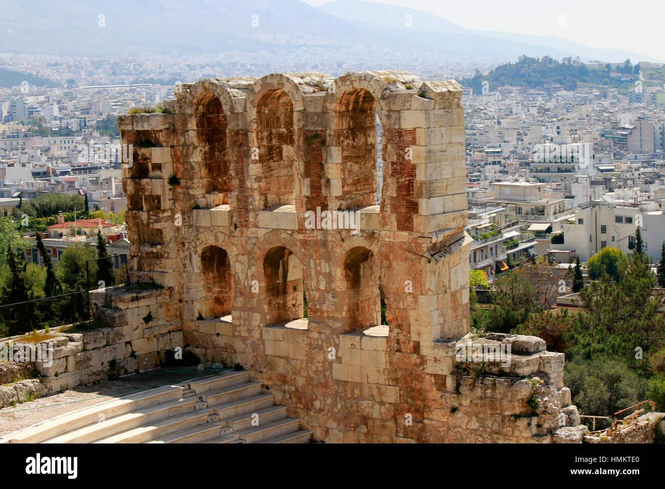 Odeon des Herodes Atticus, Akropolis, Athen, Griechenland. Stock Photo