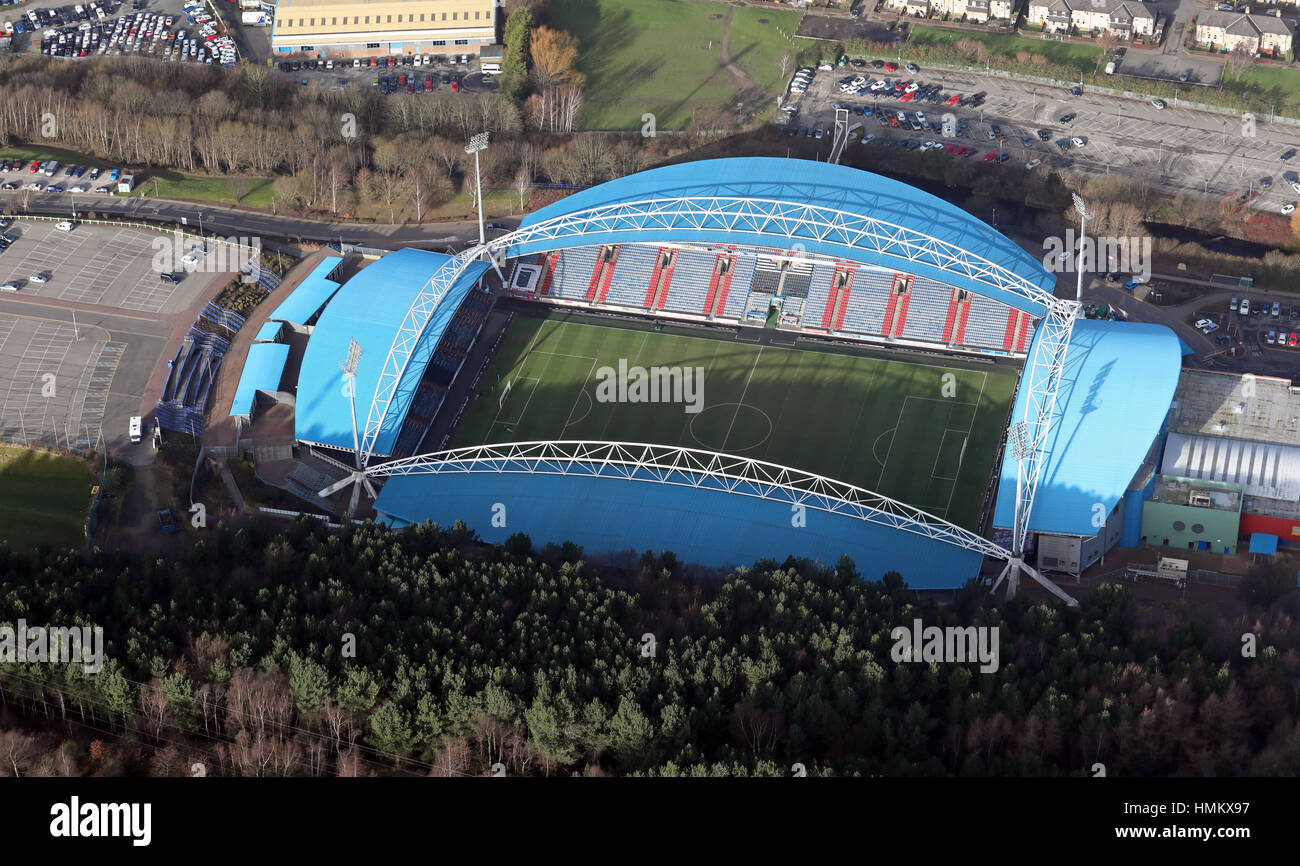 aerial view of the Kirklees John Smith's Stadium in Huddersfield, Yorkshire, UK - Stock Image