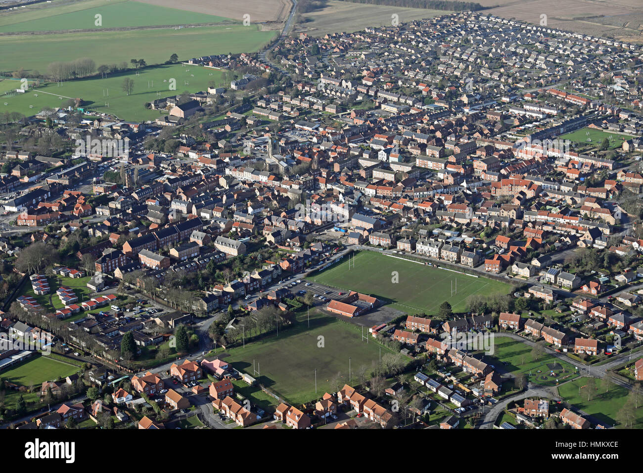 aerial view of Pocklington town centre in East Yorkshire, UK - Stock Image
