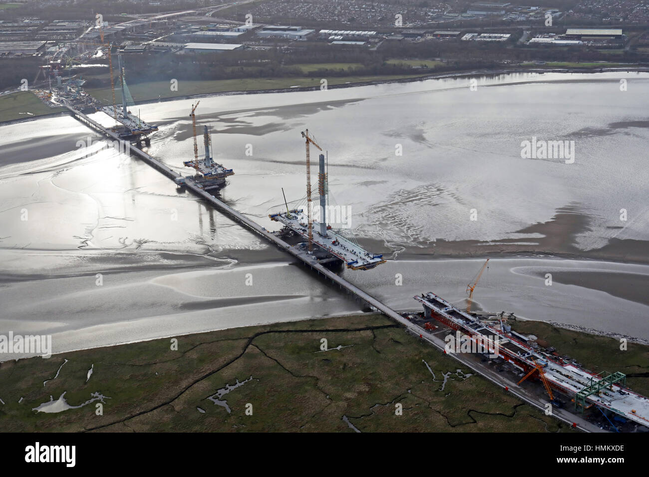 aerial view of the Mersey Gateway, the new bridge across the River Mersey at Runcorn - Stock Image