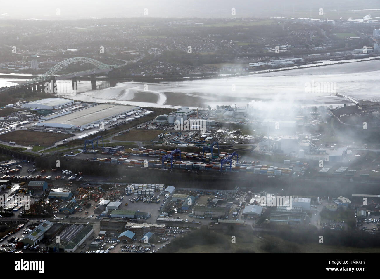 Aerial view of industrial smoke pollution at Widnes, UK - Stock Image