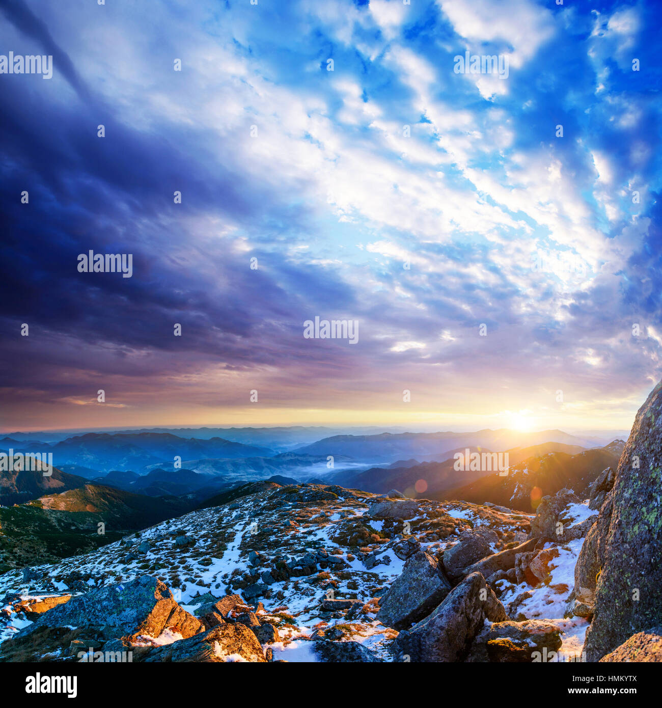 Mountain peaks covered with snow - Stock Image