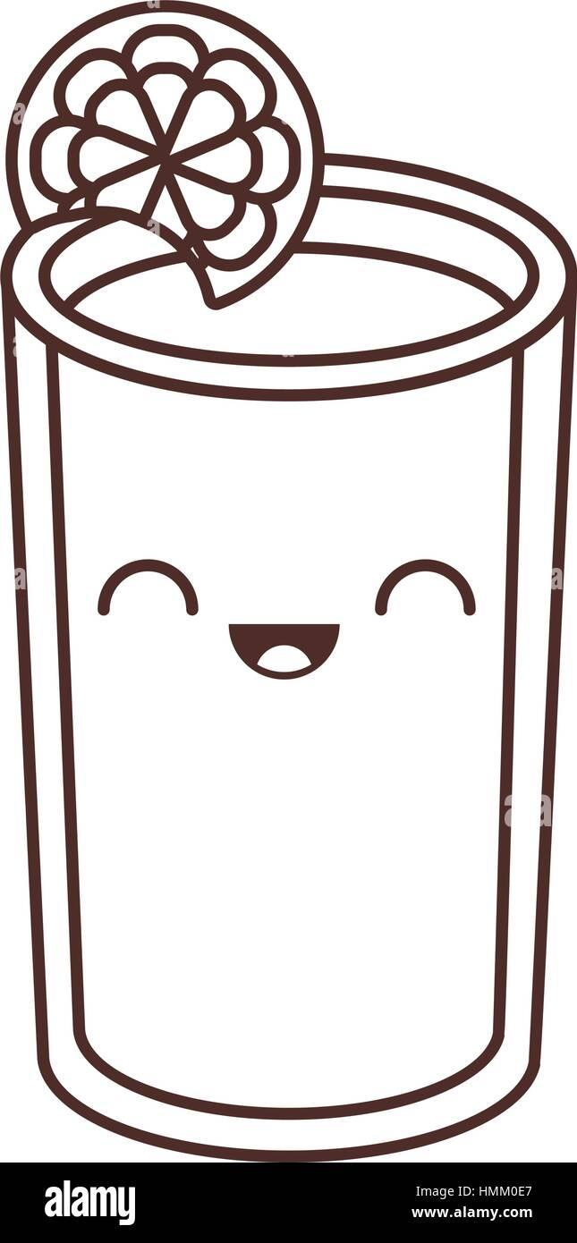 kawaii glass cup juice lemonade fresh vector illustration