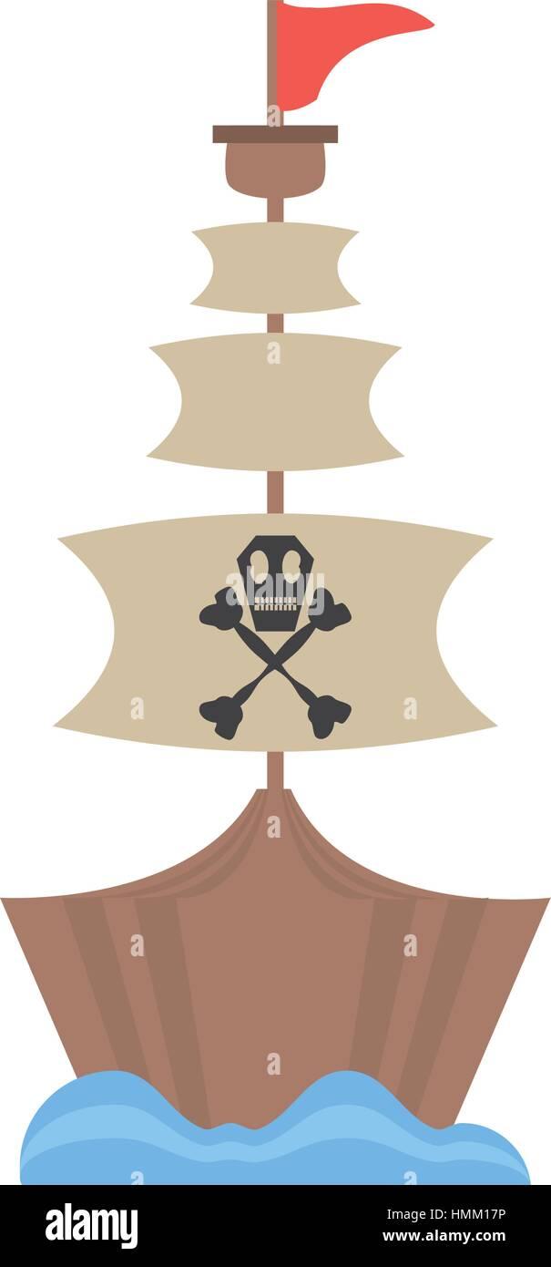 pirate boat sail flag bone and skull sea vector illustration eps 10 - Stock Image