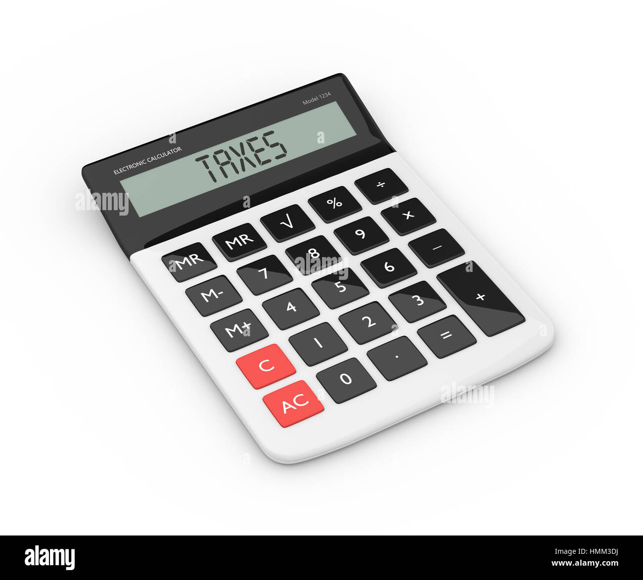 3d rendering of calculator with taxes text isolated over white - Stock Image