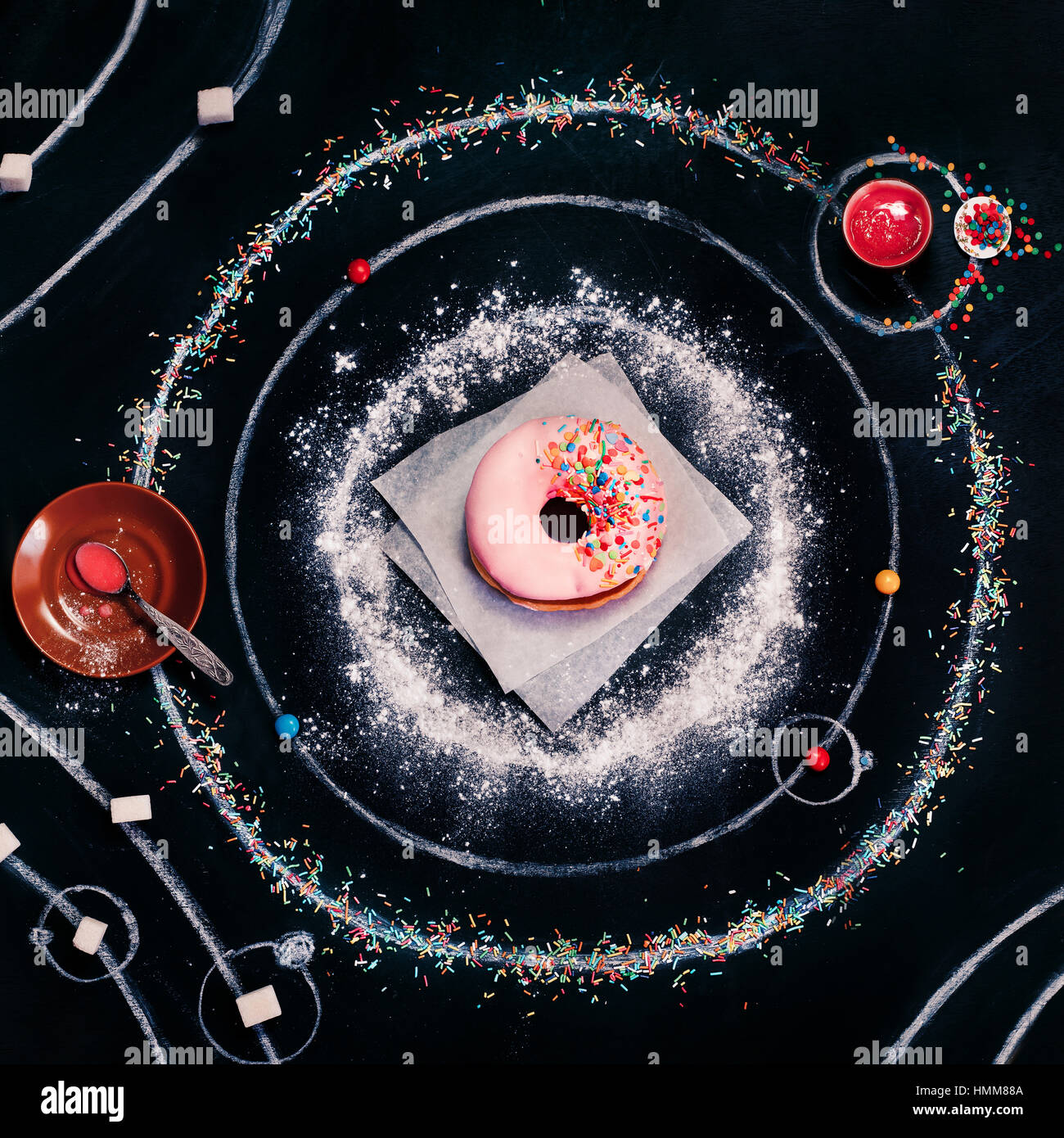 Sweets in space: Donut system - Stock Image