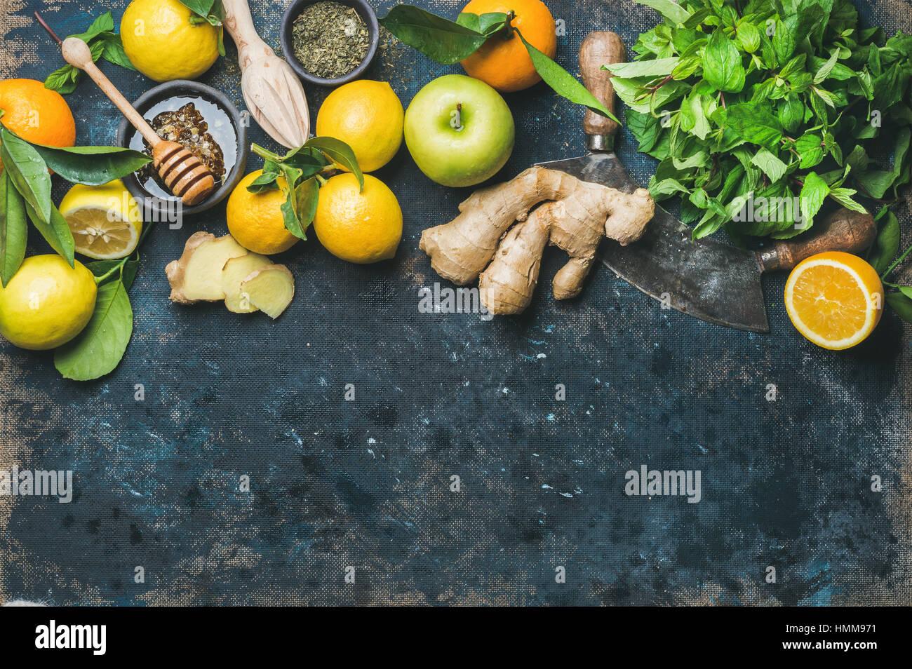 Ingredients for making immunity boosting natural hot drink in box - Stock Image