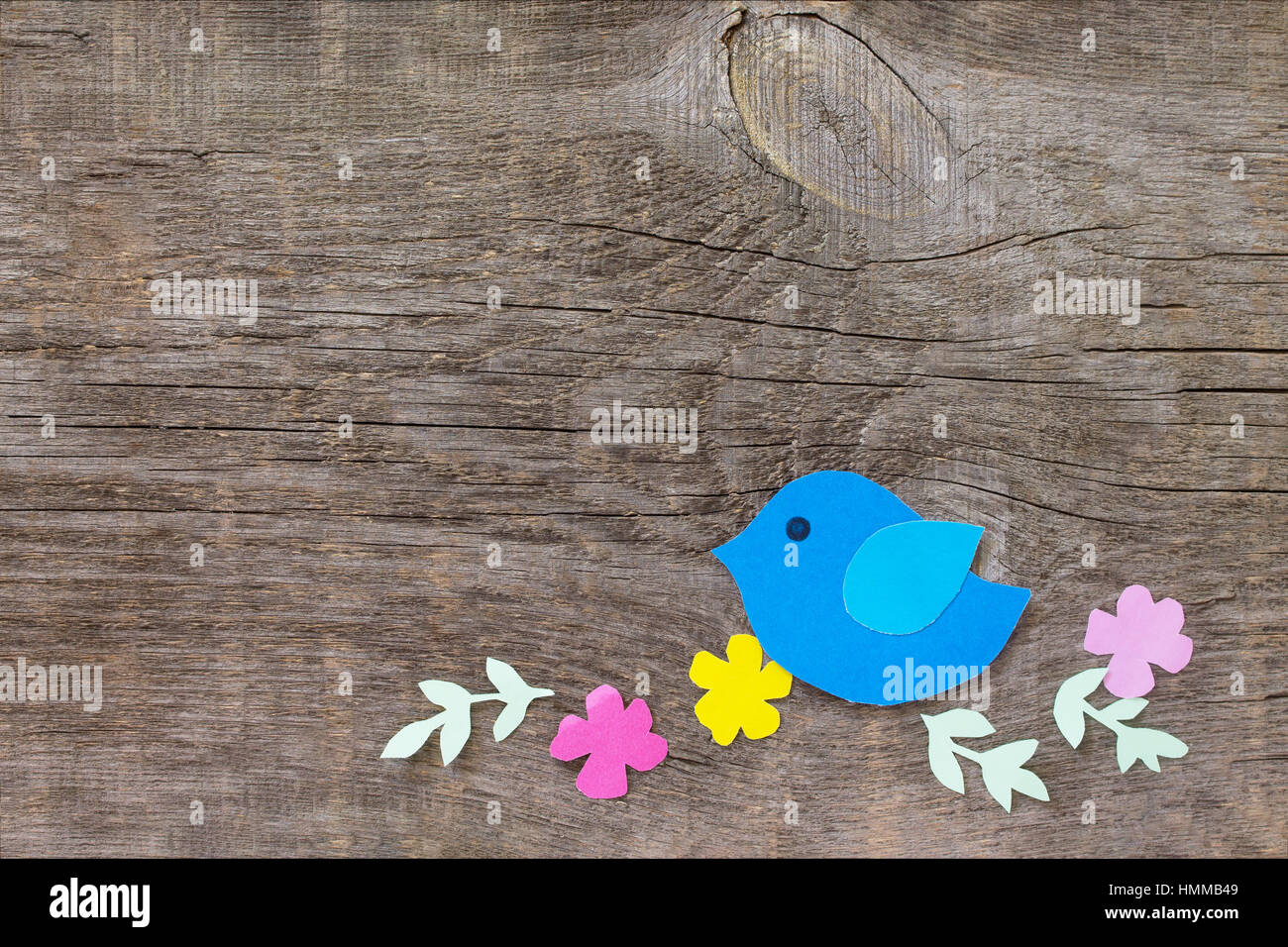 Bird And Spring Flowers On A Wooden Background Craft For Kids Copy Space Childrens Art Project Needlework Crafts Children