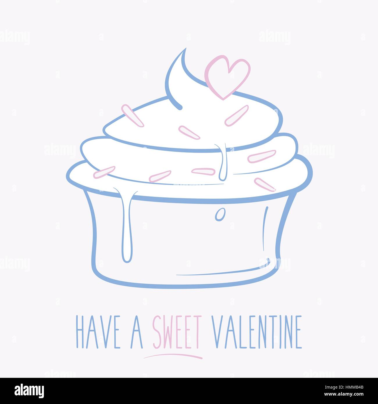 Have a sweat Valentine cupcake. Vector illustration. - Stock Vector