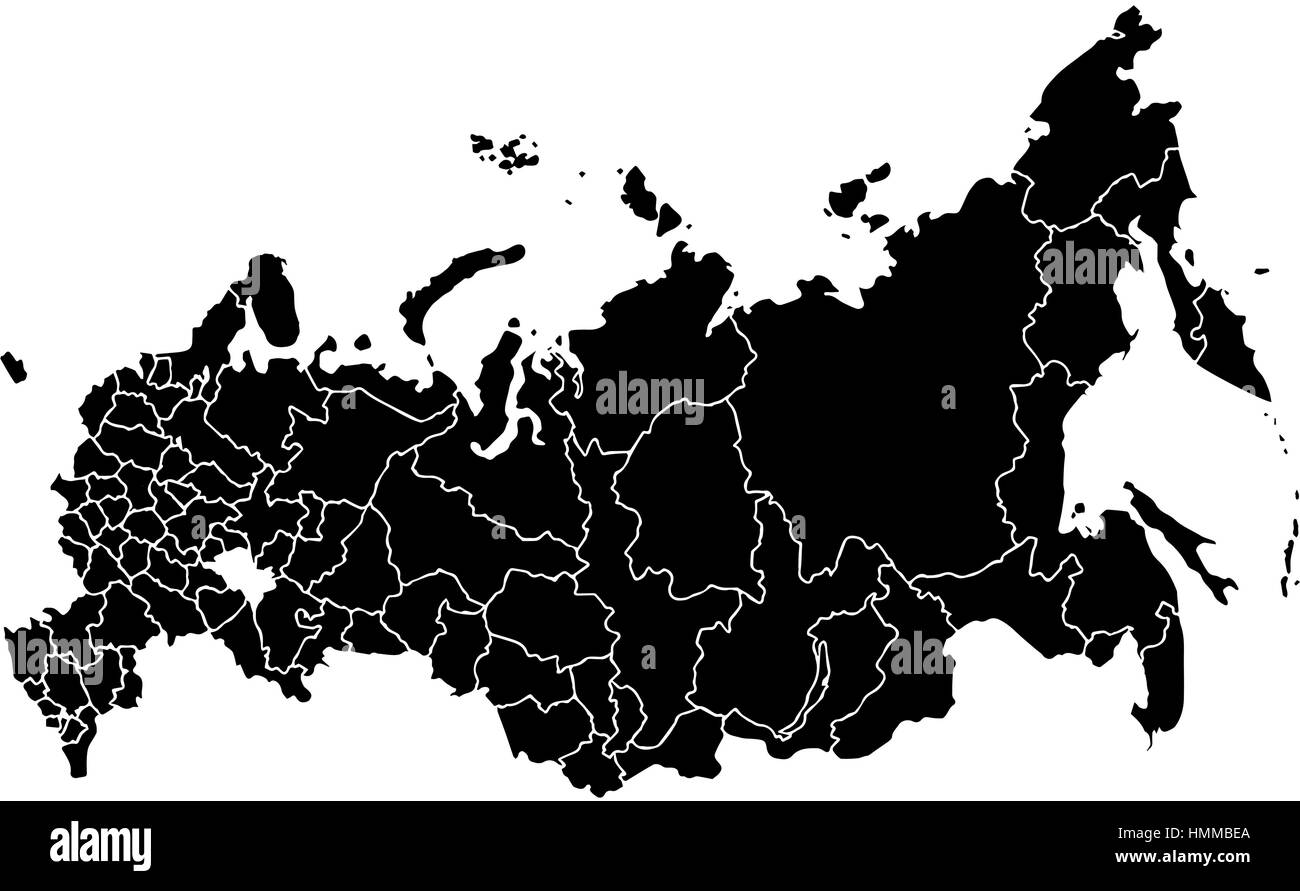 Vector map Russia. Isolated vector Illustration. Black on White