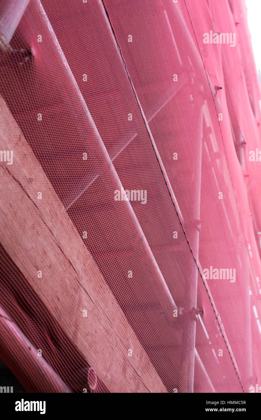 Red Scaffolding Stokes Croft Bristol - Stock Image